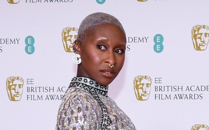 Cynthia Erivo, Jeweled Dress, Heels, BAFTA 2021