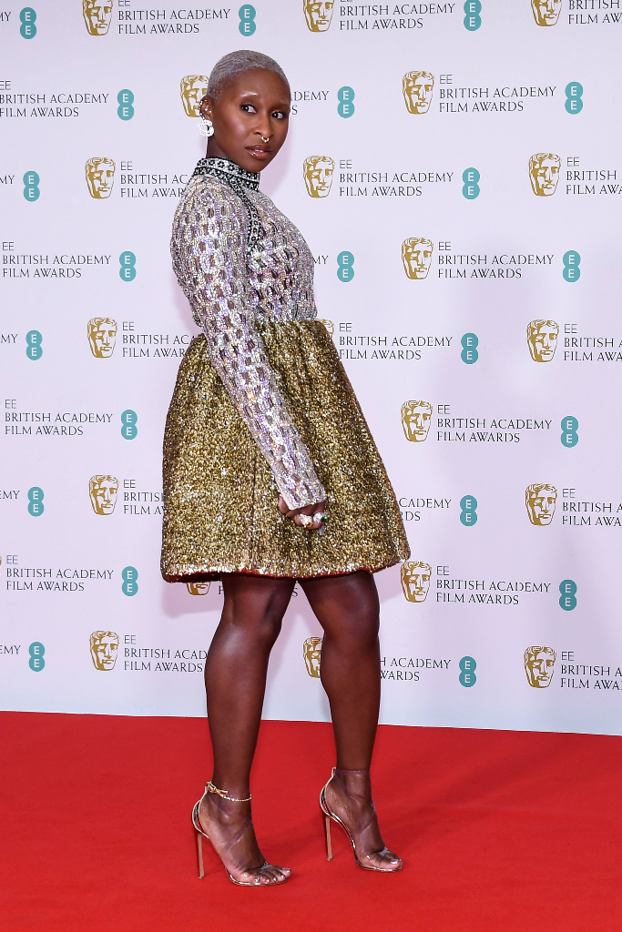 Cynthia Erivo, Jeweled Dress, Heels BAFTA Awards 2021