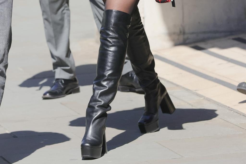 dua lipa, boots, thigh-high boots, romper, jacket, leather, sunglasses, bbc live lounge, london