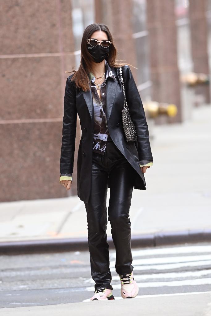 Emily Ratajkowski, leather blazer, leather pants, nike sneakers, nyc