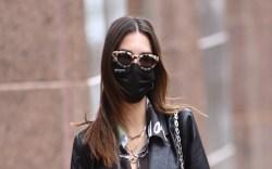 Emily Ratajkowski, leather blazer, pants, nike