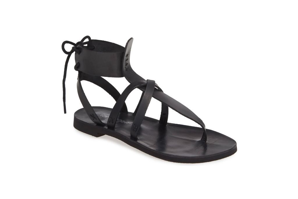 Free People, Vacation Day Sandal, Black Flat Sandals