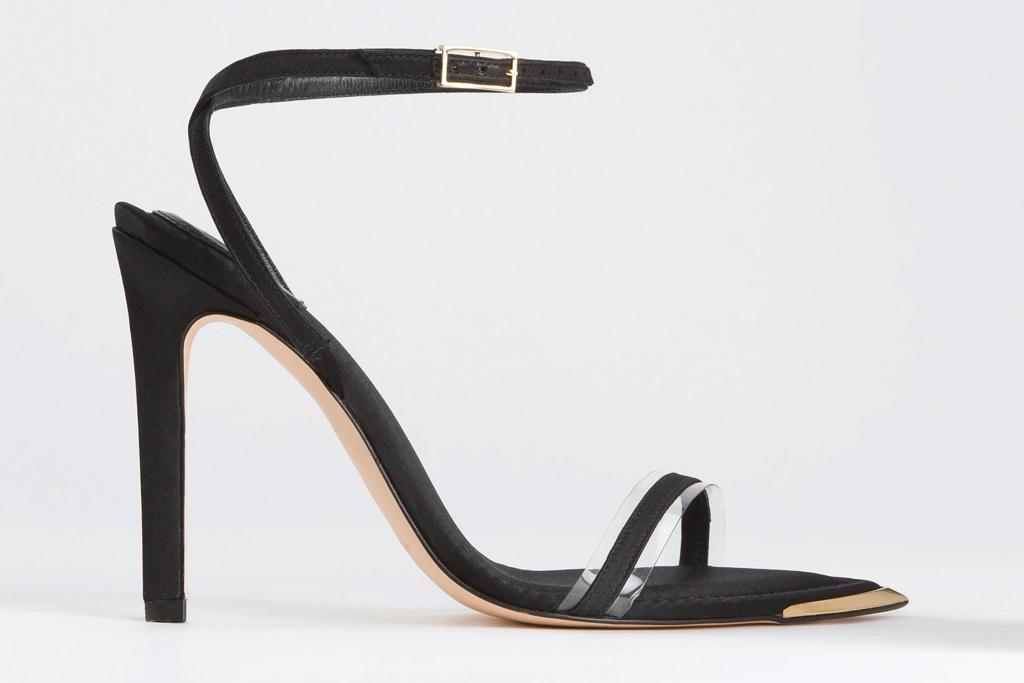 black heels, pointed toe, good american