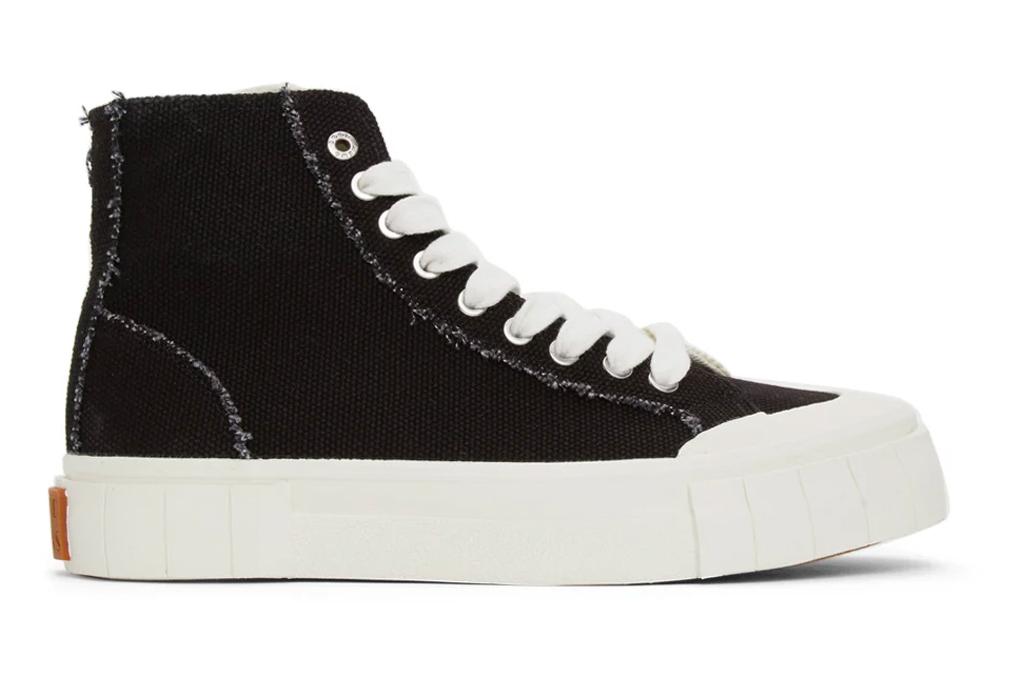 sneakers, high top, black white, good news