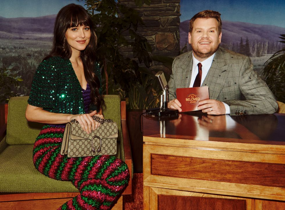 gucci talk show, beloved, james corden, dakota johnson
