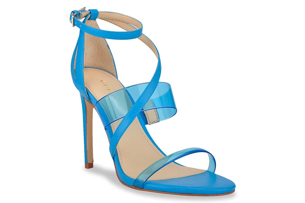 blue heels, sandals, guess