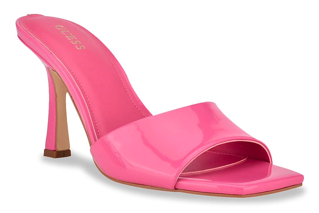 pink heels, mules, guess