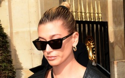 hailey baldwin, leather, blazer, pants, bralette,