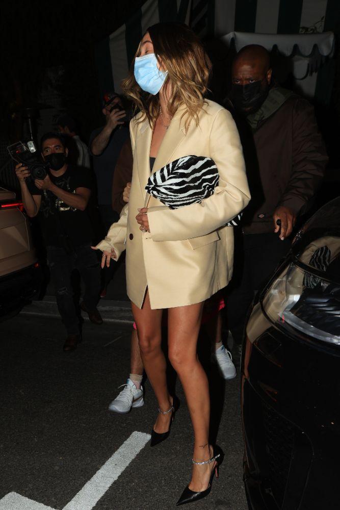 hailey baldwin, dress, blazer, bralette, purse, heels, justin bieber, date, night, amina muaddi, los angeles