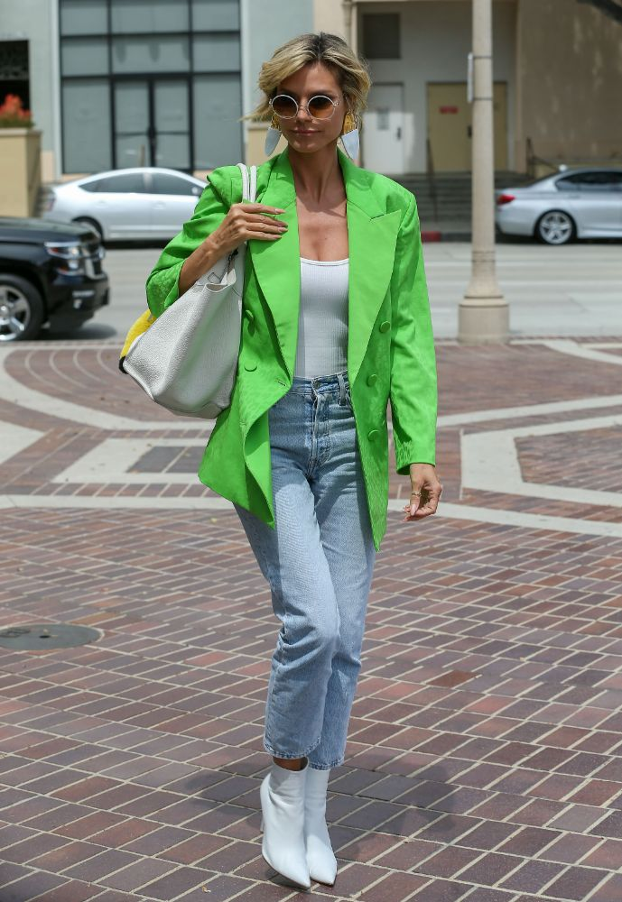 heidi klum, blazer, green blazer, neon, white tank top, bodysuit, jeans, boots, heels, americas got talent, agt, los angeles, set