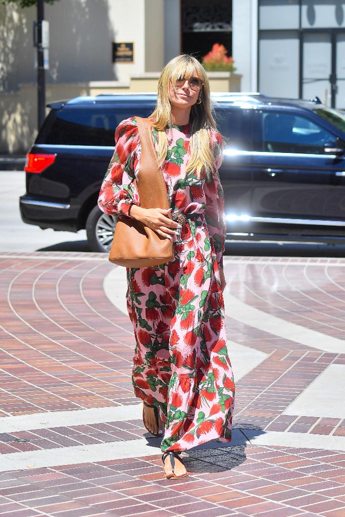 Heidi Klum, Floral Dress, Black Flat Sandals, LA, AGT