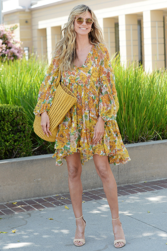 Heidi Klum, Floral Dress, Nude Heels, AGT