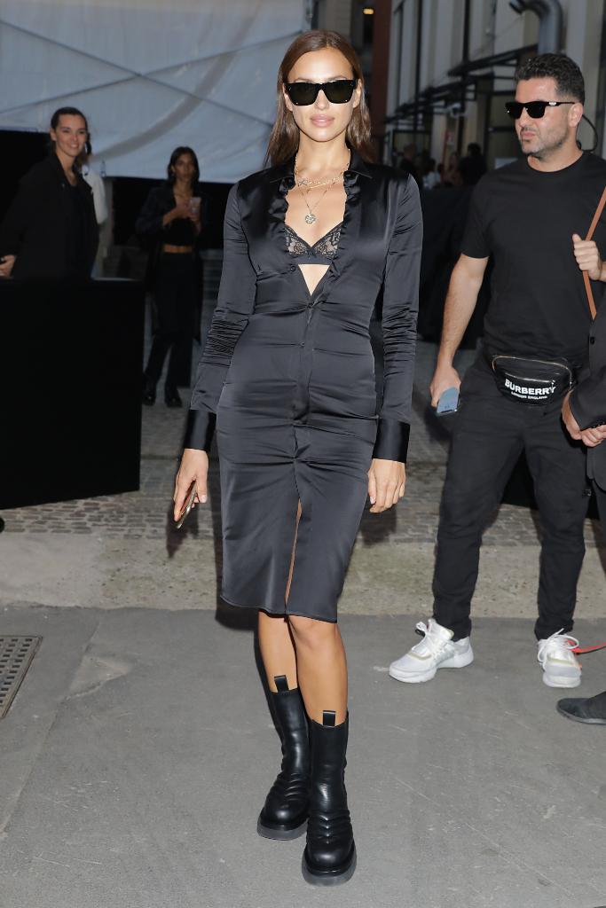 Irina Shayk, black dress, bottega veneta boots, black boots