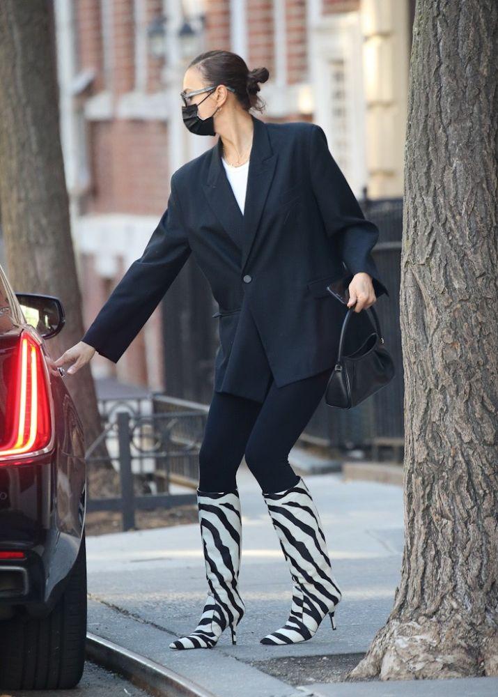 Irina Shayk Is Wild in a Blazer, Leggings & Zebra Boots With Daughter –  Footwear News