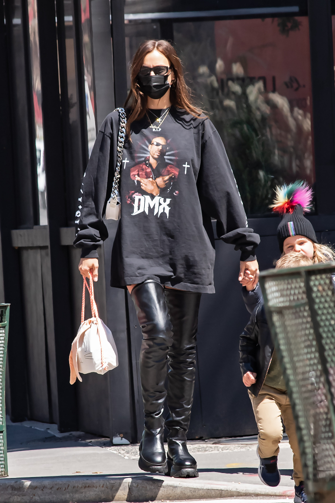 Irina Shayk, Graphic T-Shirt, Thigh High Boots, NYC