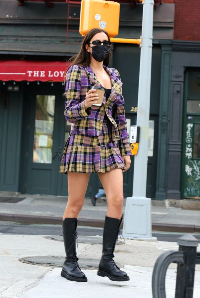 irina shayk, skirt, blazer, plaid, clueless, comabt boots, knee-high boots, daughter, new york