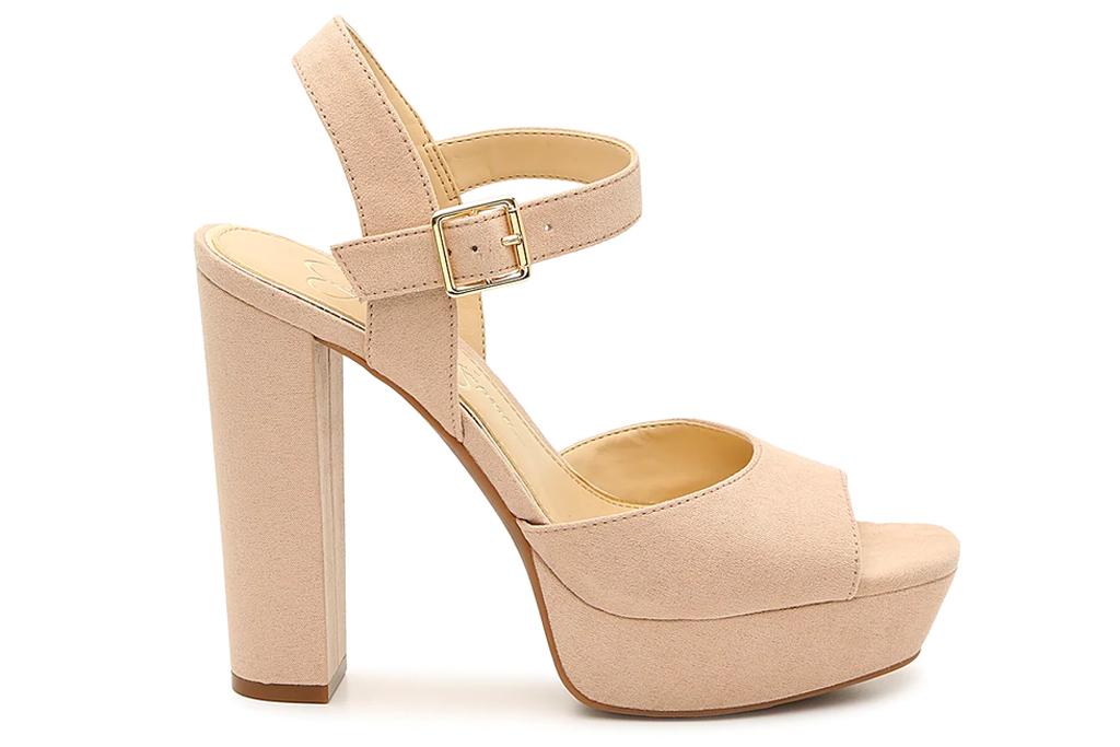platform sandals, block heel, taupe, jessica simpson