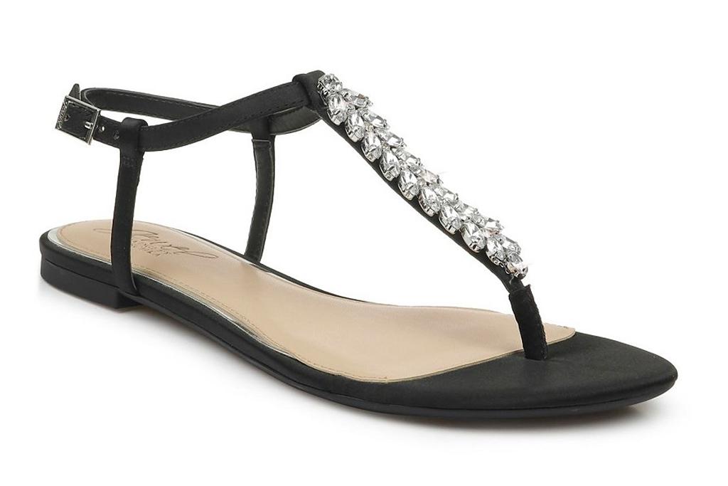 thong sandals, flats, jewel badgley mischka