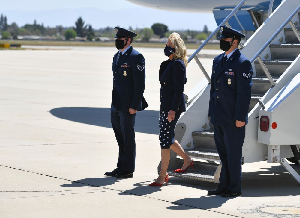 jill biden, blazer, coat, polka dot dress, blue, red heels, california, union, workers, forty acres