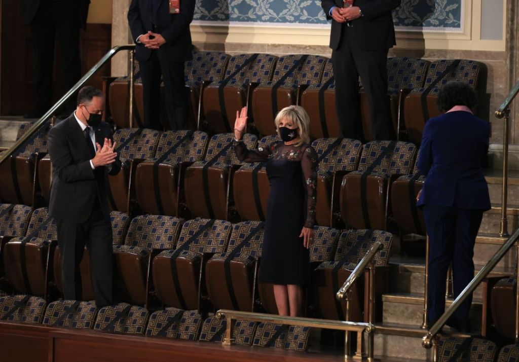 jill biden, dress, mesh dress, floral, gabriela hearst, congress, president biden speech, doug emhoff, capitol, dc