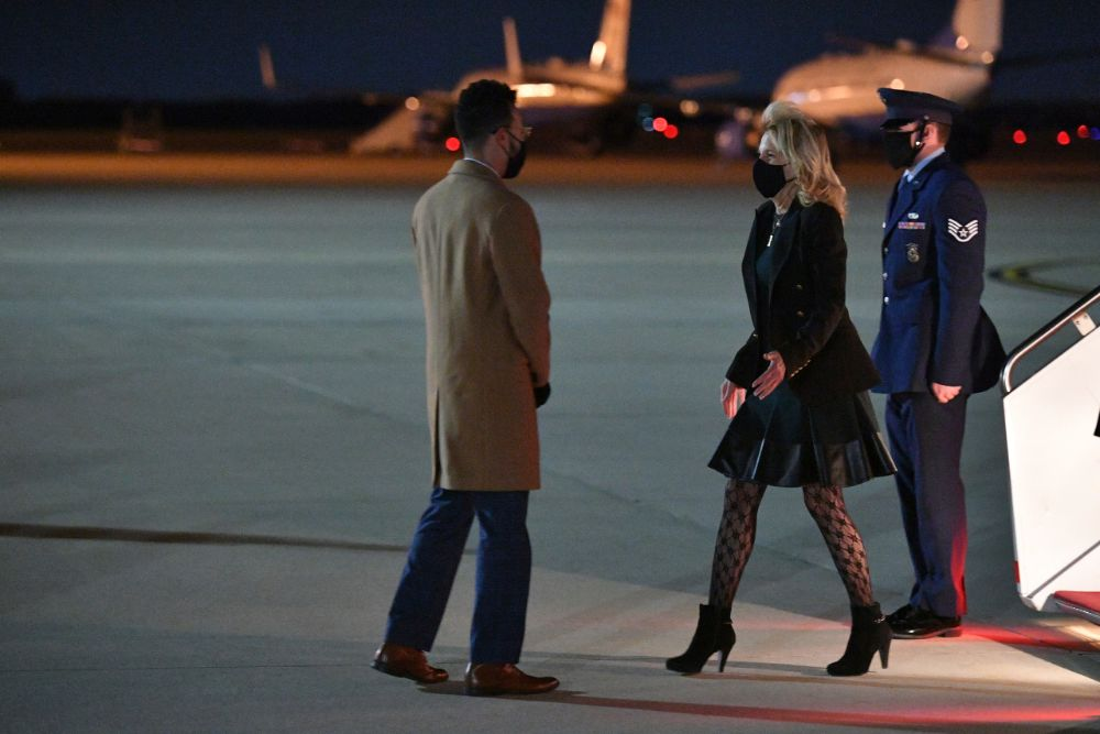 jill biden, dress, leather dress, jacket, tights, boots, booties, air force one, california, maryland