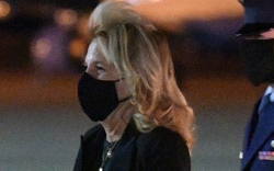 jill biden, dress, leather dress, jacket,