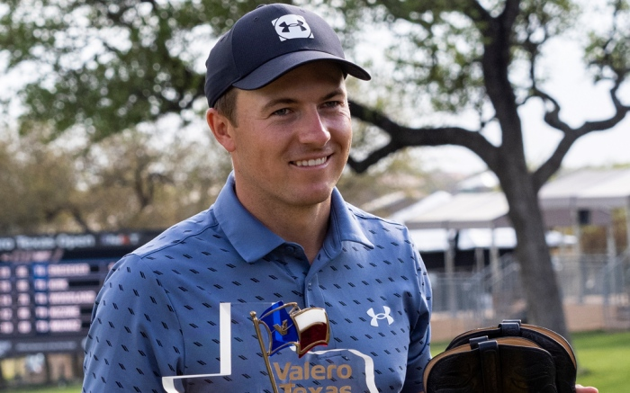 jordan spieth, golf, texas open, win, 2017, under armour, cowboy boots, trophy, texas