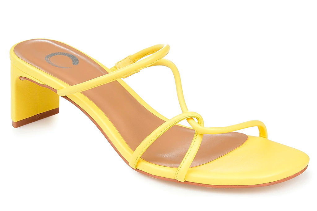 yellow heels, sandals, journee