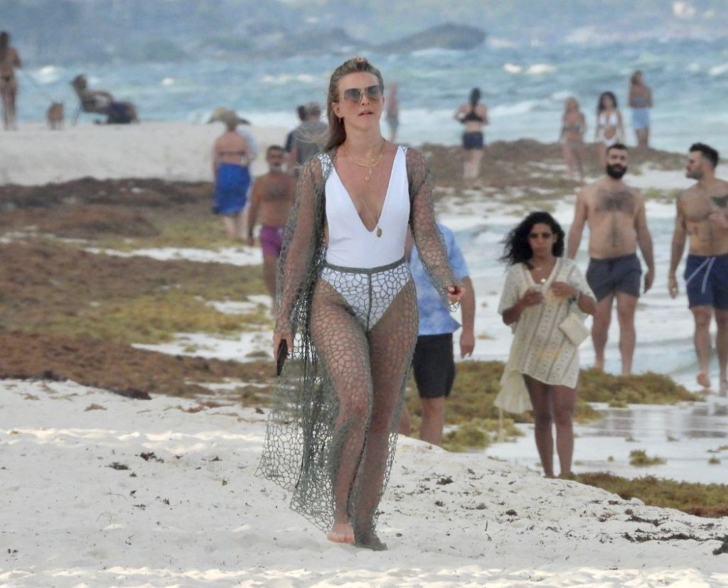 julianne hough, bathing suit, swimsuit, skirt, coverup, fishnet, cardigan, sunglasses, necklace, mexico, beach