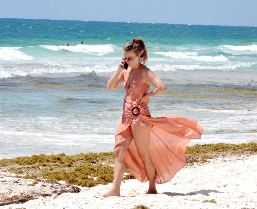 julianne hough, bikini, bathing suit, coverup, dress, sunglasses, beach, mexico