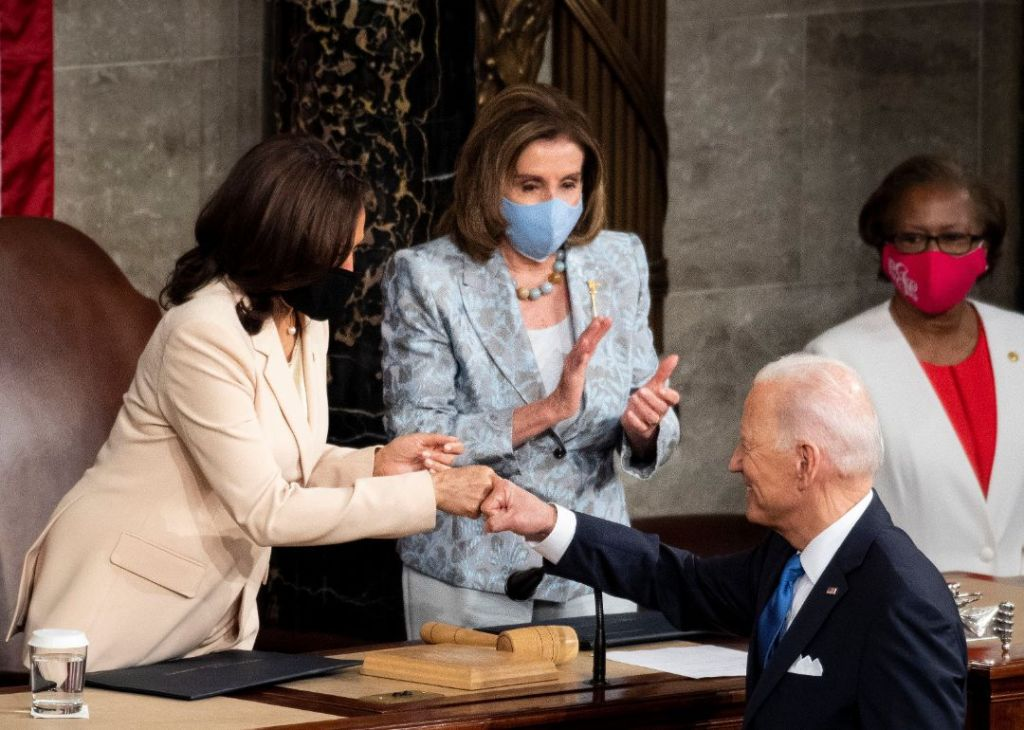 kamala harris, suit, prabal gurung, heels, nancy pelosi, president biden, speech, congress