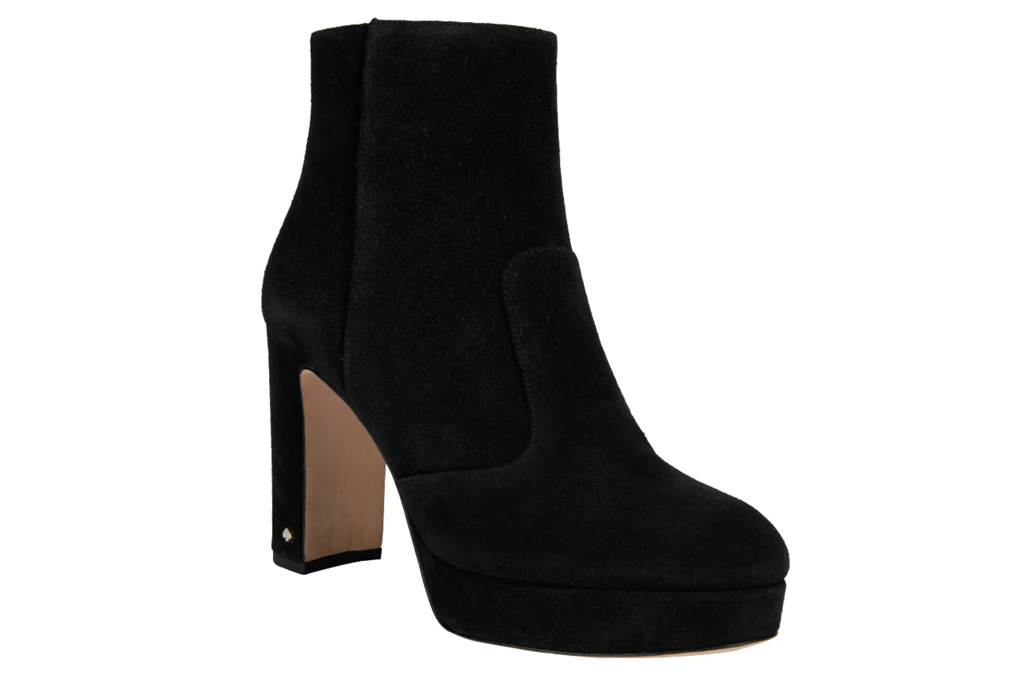 black boots, round toe, heeled, kate spade