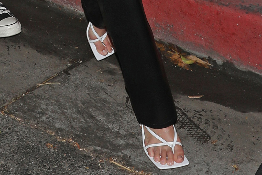kendall jenner, thong, sandals, tube top, strapless shirt, leather pants, heels, devin booker, date, la