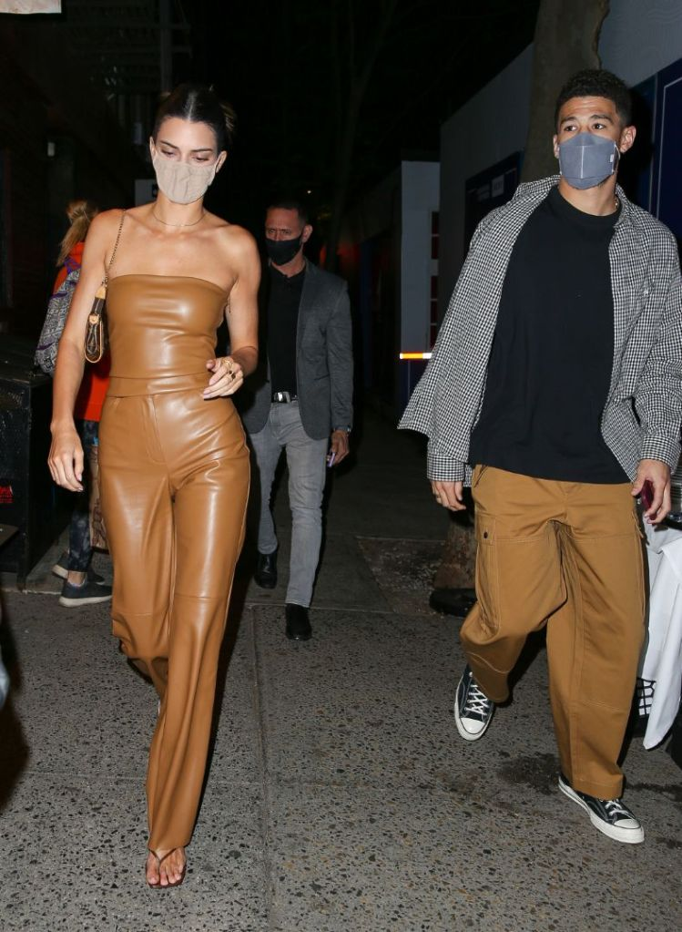 kendall jenner, tube top, leather, pants, thong sandals, heels, devin booker, date, ny