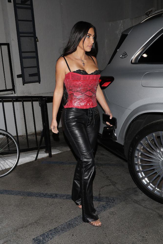 kim kardashian, corset, bustier, leather pants, heels, sandals, dinner, la, scooter braun