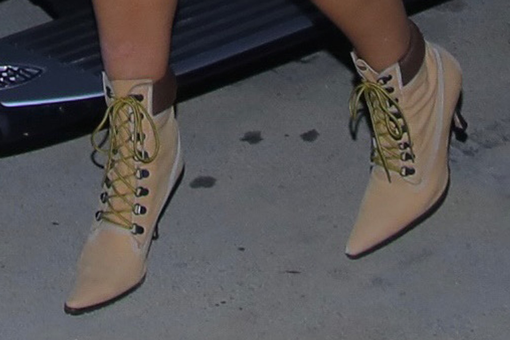 kim kardashian, crop top, capri pants, red pants, leather, mesh shirt, boots, work boots, manolo blahnik