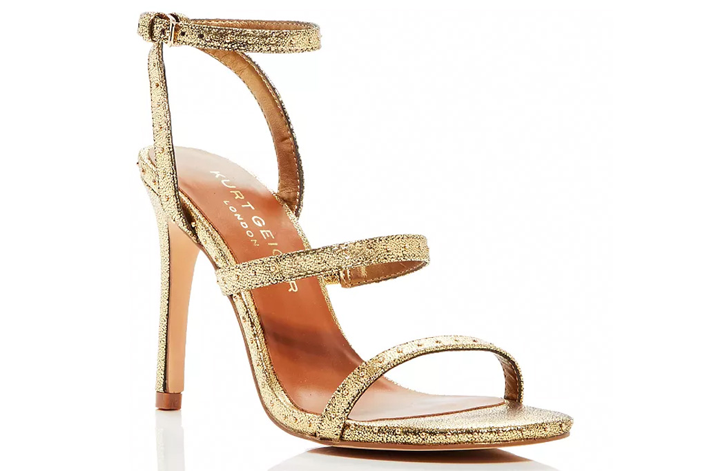 gold heels, sandals, kurt geiger