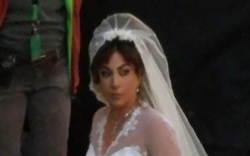 Lady Gaga, Bridal Gown, White Heels,