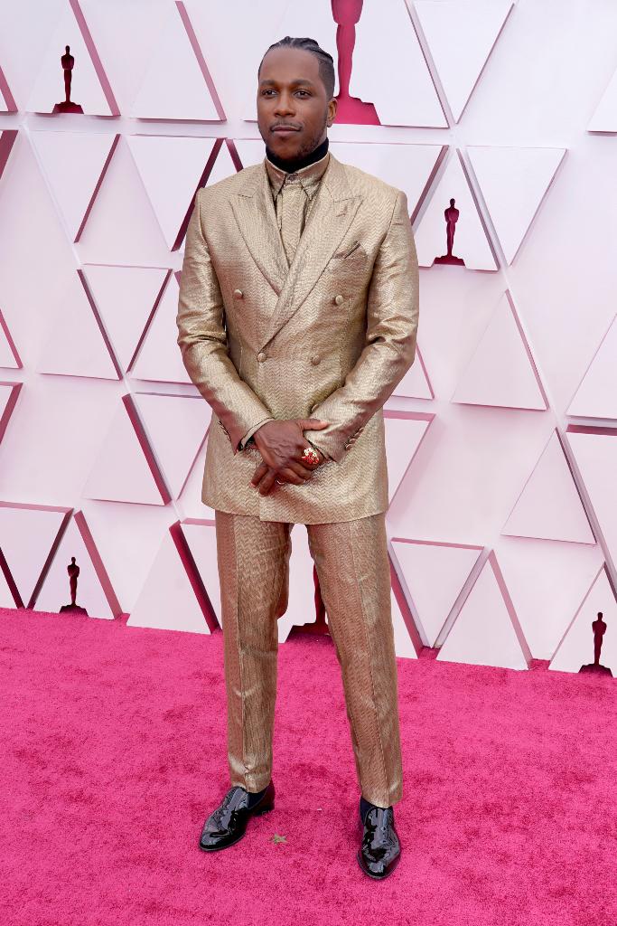 Leslie Odom Jr., Gold Suit, Oscars 2021