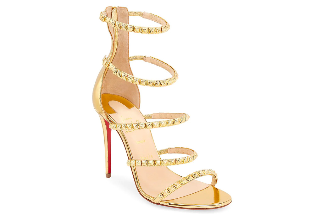 christian louboutin, forever girl, gold sandals