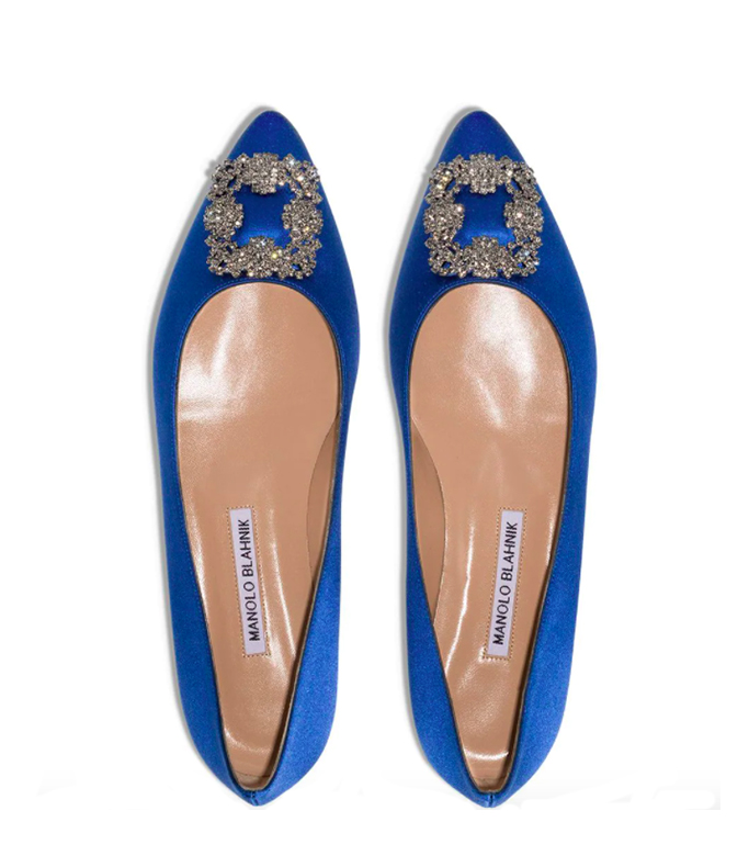 manolo blahnik hagasi flat, best flat wedding shoes