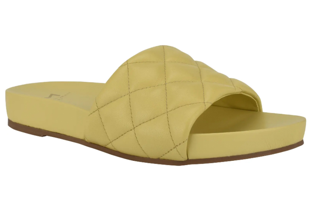 yellow slides, sandals, marc fisher