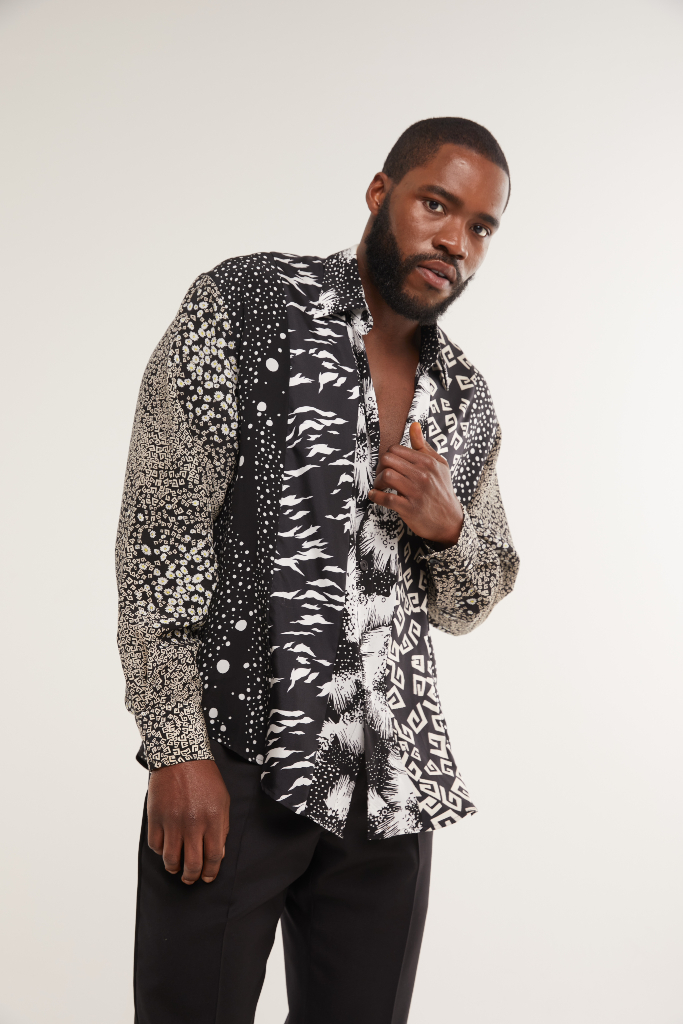 Martins Imhangbe, Pattern Shirt, Black Pants, SAG Awards 2021