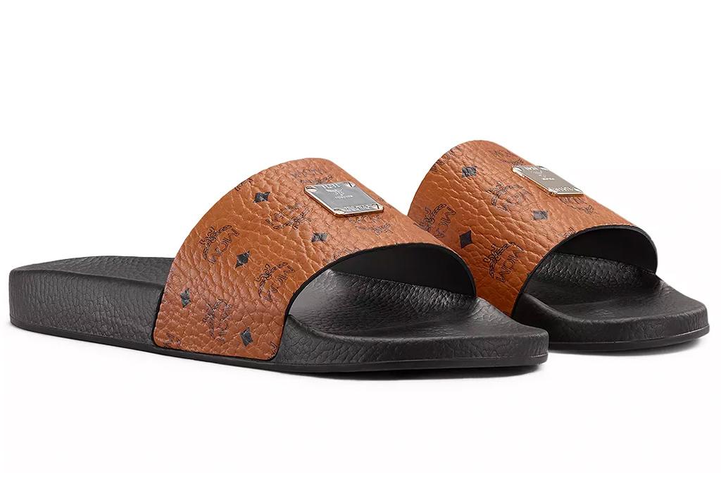 slides, brown, black, mcm