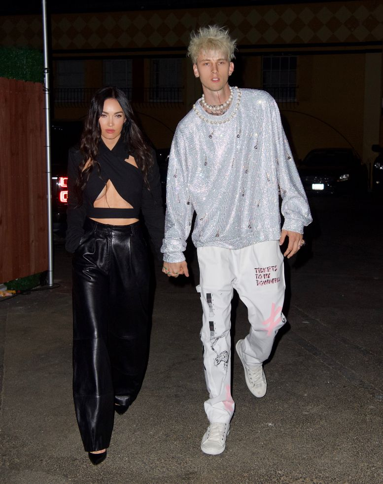 megan fox, cutout top, leather pants, heels, machine gun kelly, mgk, pants, sneakers, birthday, date, la