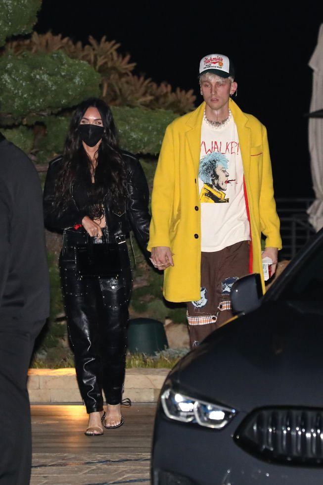 megan fox, bralette, leather jacket, leather pants, heels, sandals, alexander wang, machine gun kelly, mgk, nobu, date, la