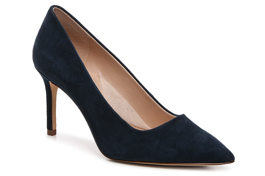 navy heels, pumps, essex