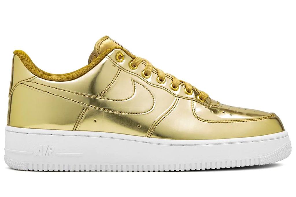 gold sneakers, nike
