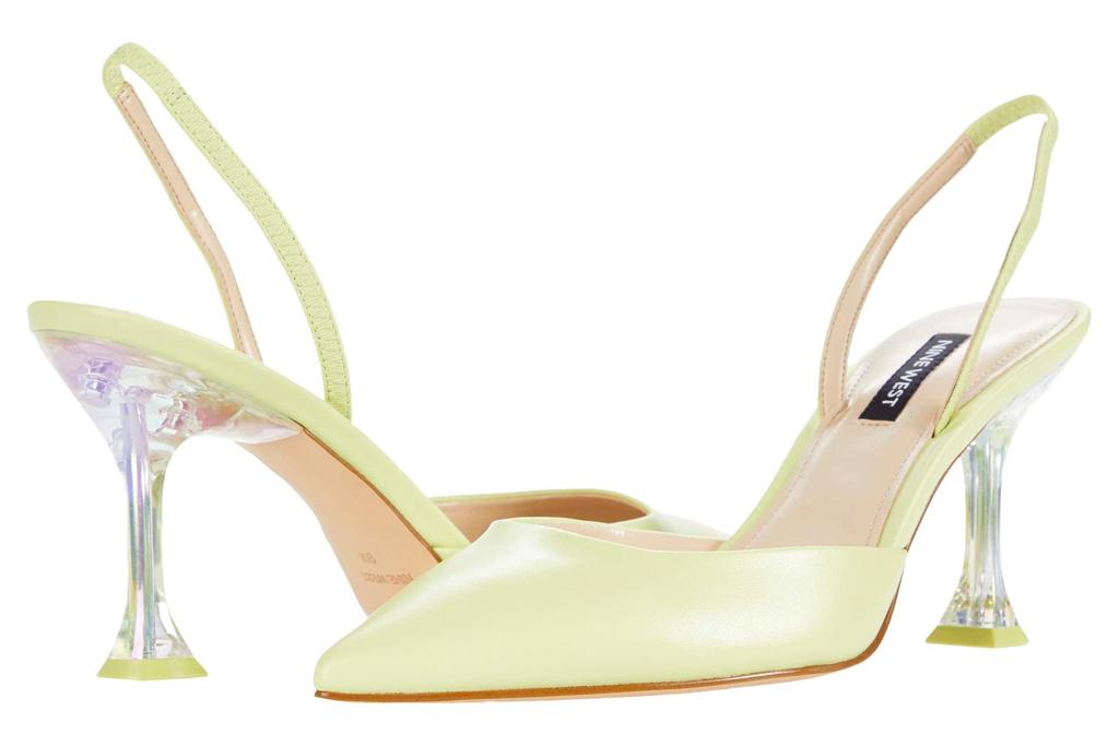 heels, slingback, green pumps, nine west