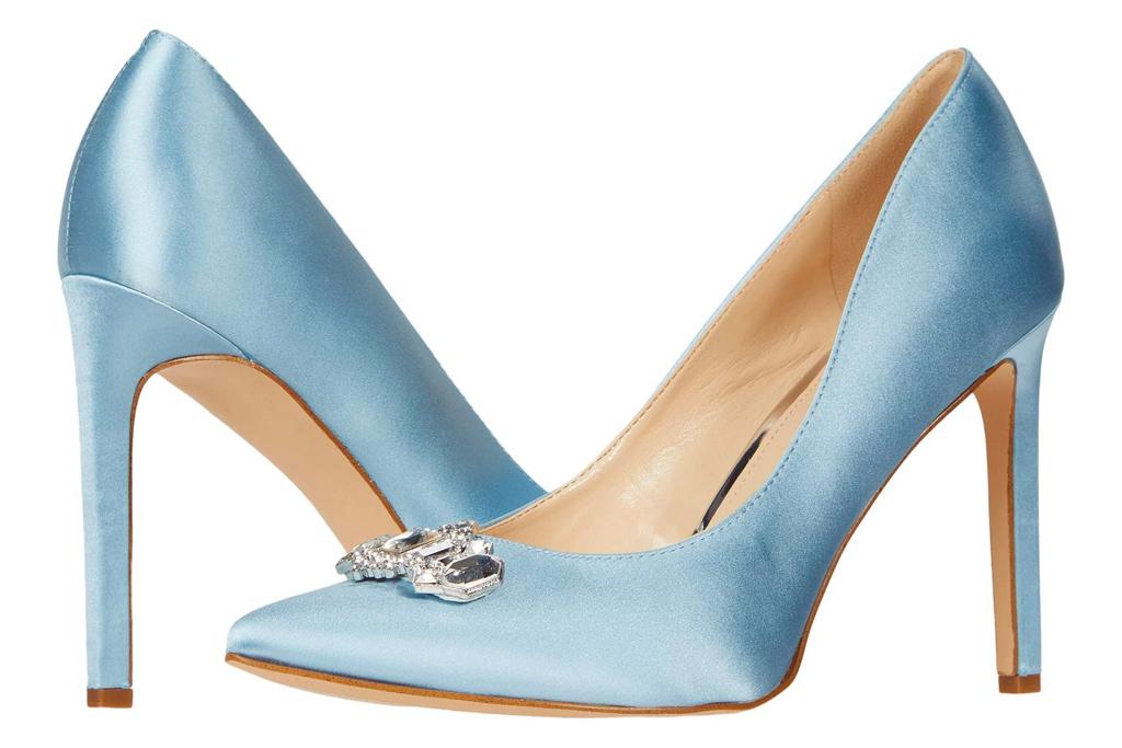 blue heels, sandals, nine west